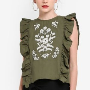 Button Back Ruffle Embroidered Top